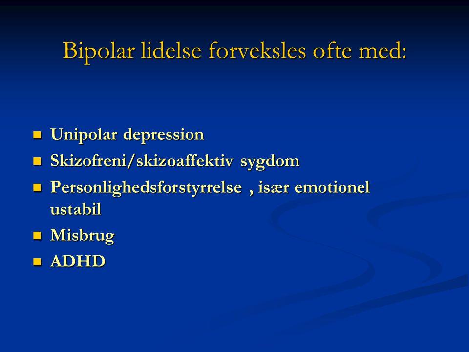 Bipolar lidelse forveksles ofte med: