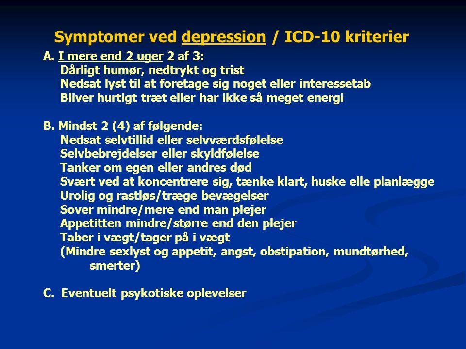 Symptomer ved depression / ICD-10 kriterier