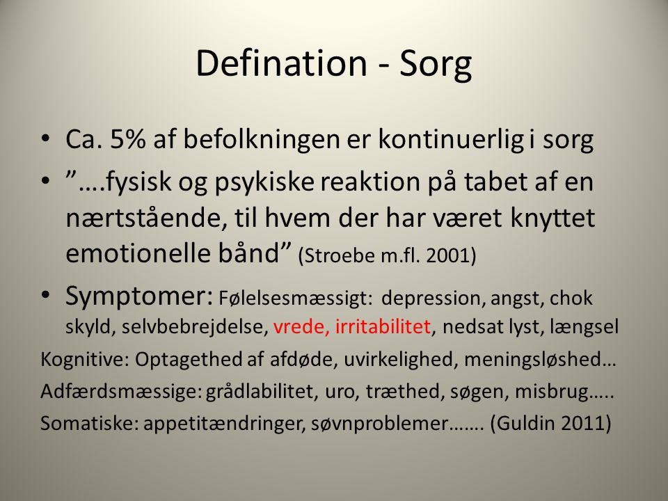 Defination - Sorg Ca. 5% af befolkningen er kontinuerlig i sorg