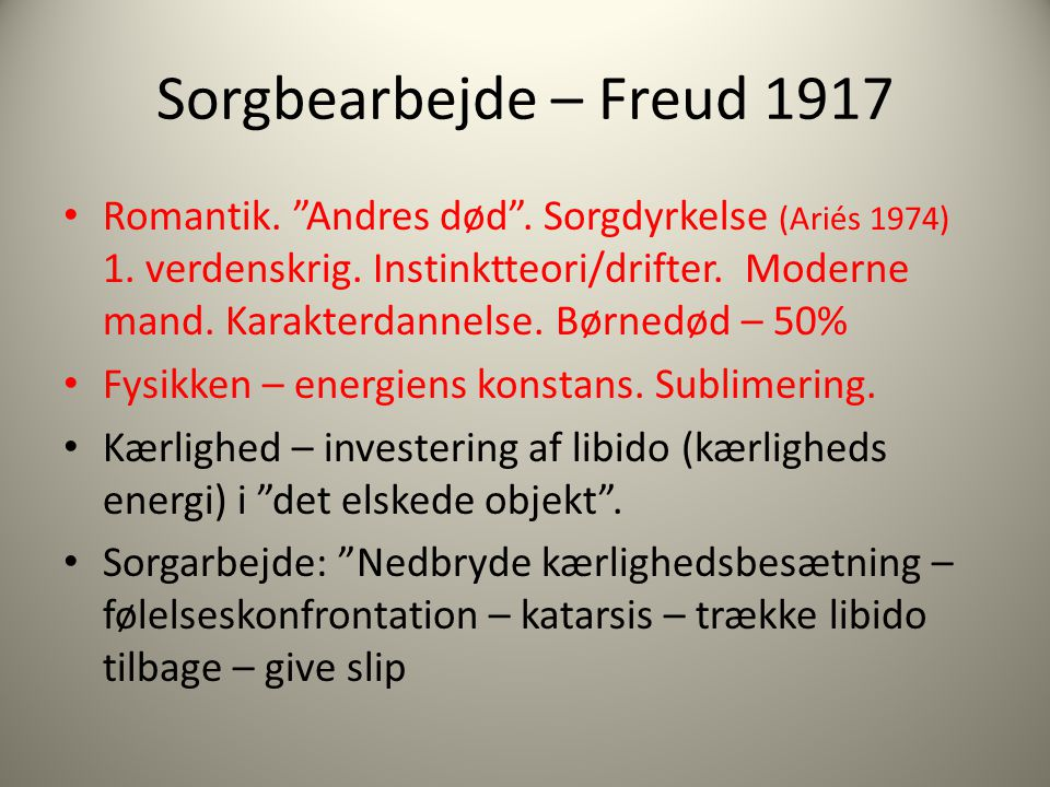 Sorgbearbejde – Freud 1917