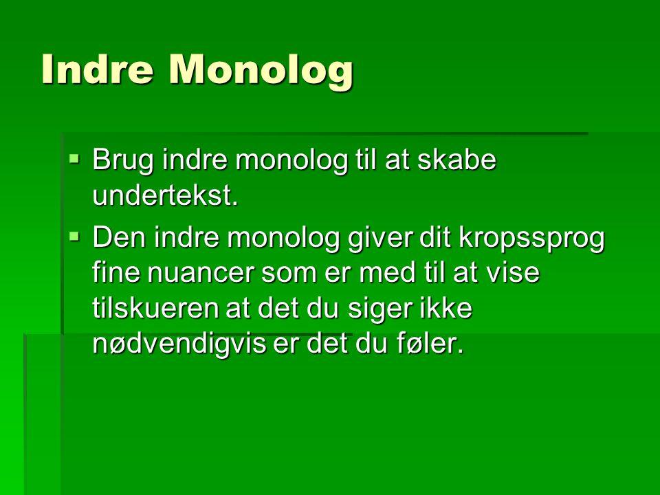 Indre Monolog Brug indre monolog til at skabe undertekst.