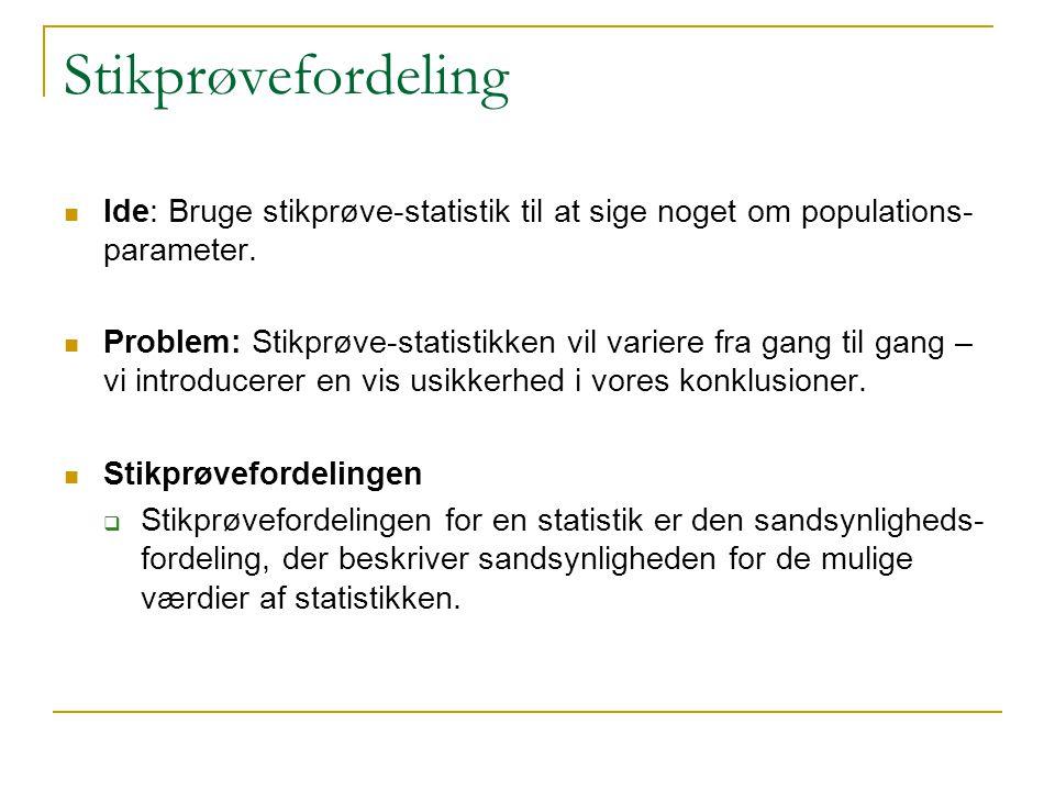 Stikprøvefordeling Ide: Bruge stikprøve-statistik til at sige noget om populations-parameter.