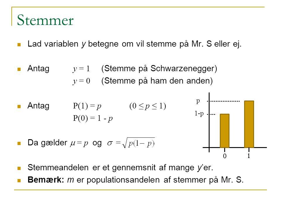 Stemmer Lad variablen y betegne om vil stemme på Mr. S eller ej.