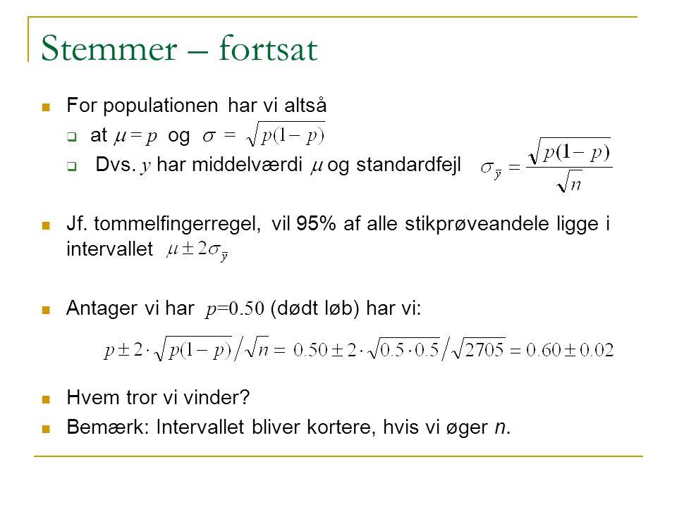 Stemmer – fortsat For populationen har vi altså at m = p og s =