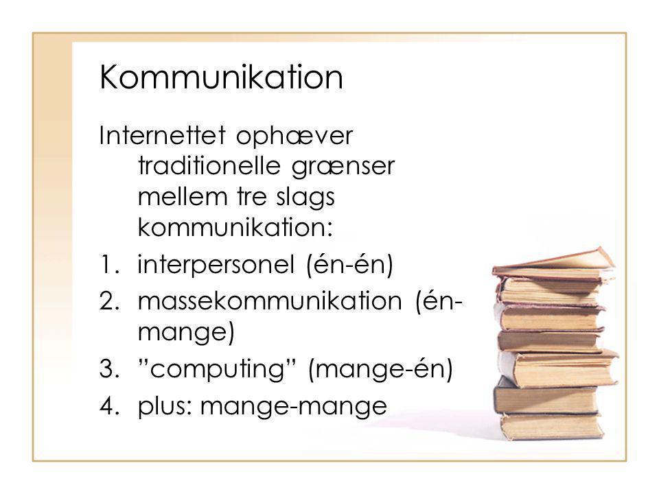 Kommunikation Internettet ophæver traditionelle grænser mellem tre slags kommunikation: interpersonel (én-én)