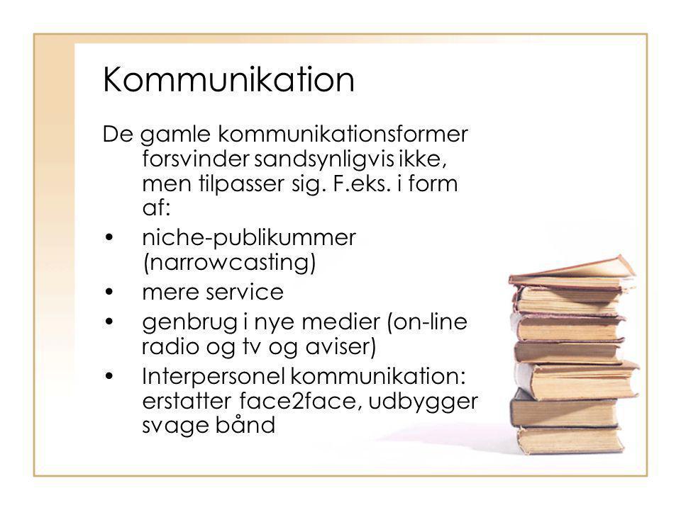 Kommunikation De gamle kommunikationsformer forsvinder sandsynligvis ikke, men tilpasser sig. F.eks. i form af: