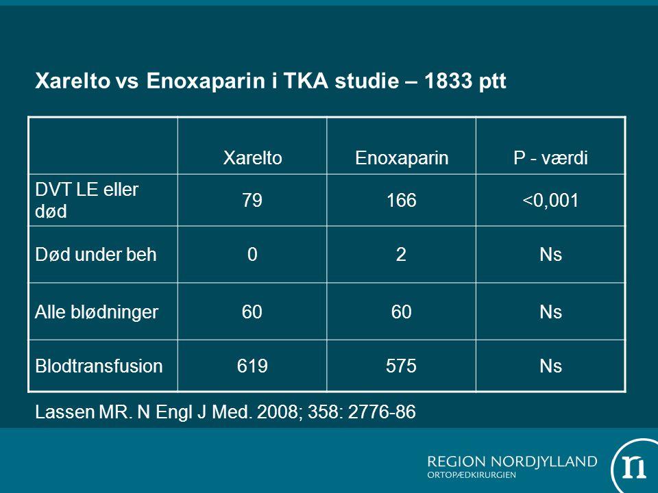 Xarelto vs Enoxaparin i TKA studie – 1833 ptt