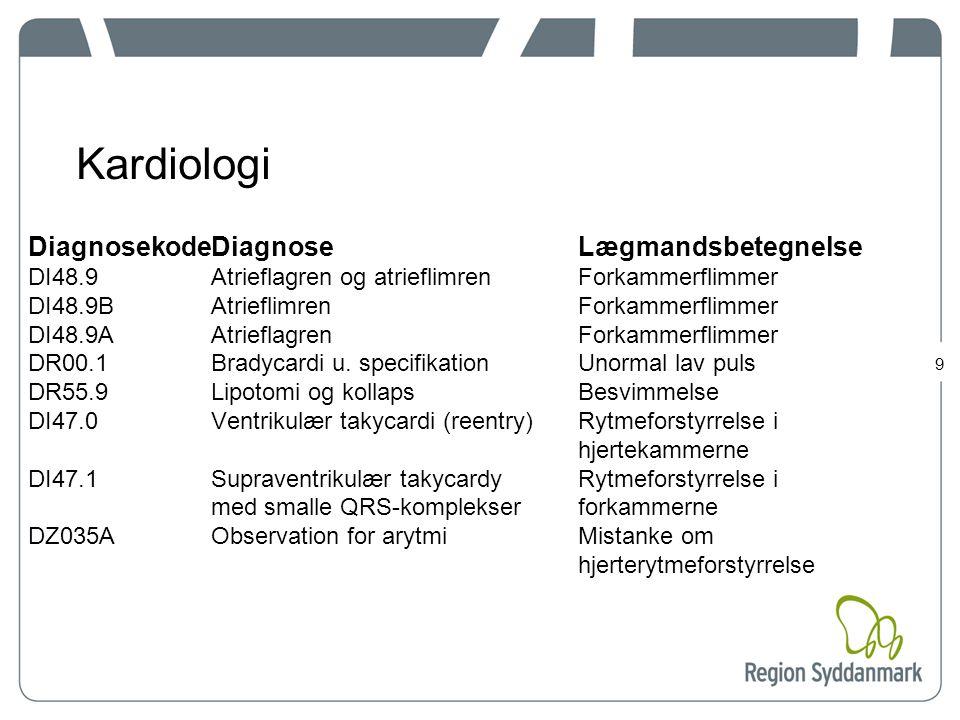 Kardiologi Diagnosekode Diagnose Lægmandsbetegnelse