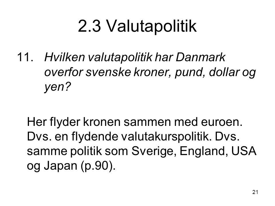 2.3 Valutapolitik 11. Hvilken valutapolitik har Danmark overfor svenske kroner, pund, dollar og yen