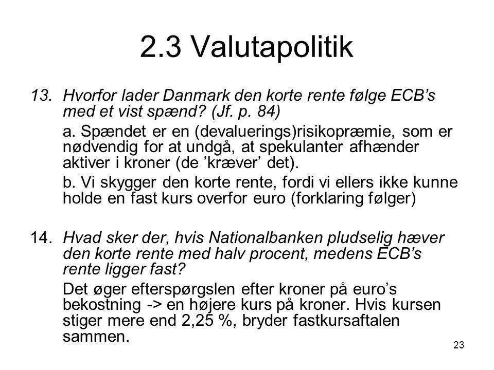 2.3 Valutapolitik 13. Hvorfor lader Danmark den korte rente følge ECB's med et vist spænd (Jf. p. 84)