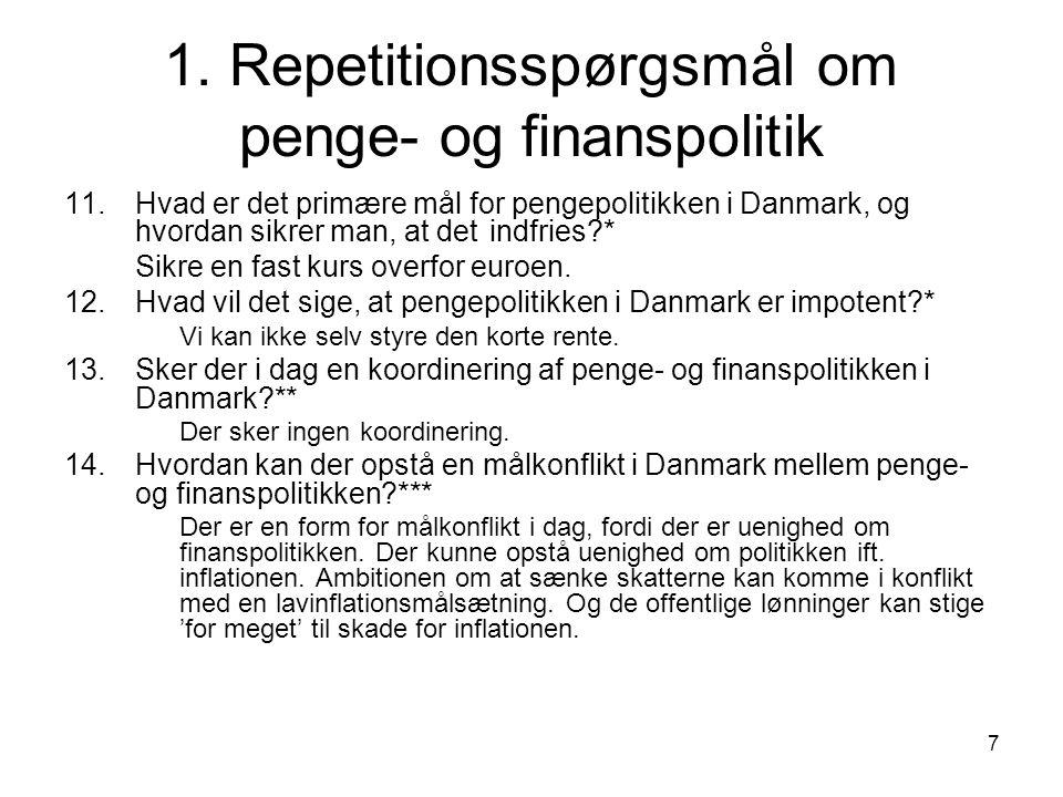 1. Repetitionsspørgsmål om penge- og finanspolitik