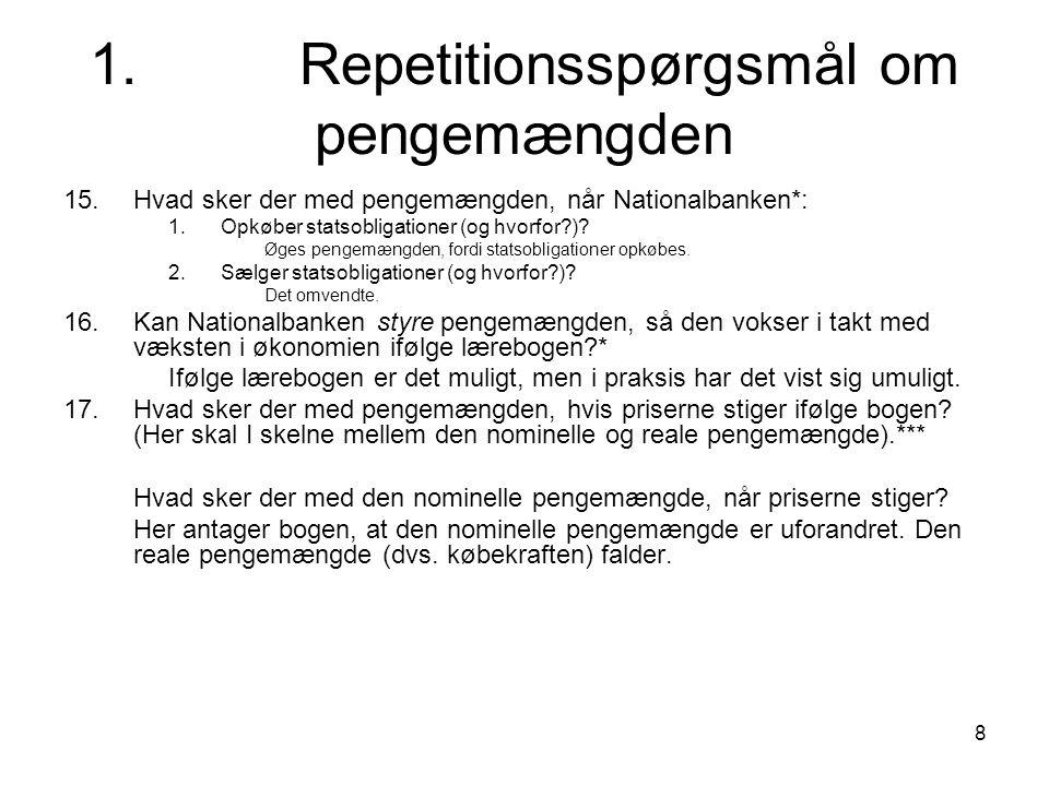 1. Repetitionsspørgsmål om pengemængden