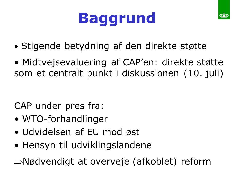 Baggrund Stigende betydning af den direkte støtte. Midtvejsevaluering af CAP'en: direkte støtte som et centralt punkt i diskussionen (10. juli)