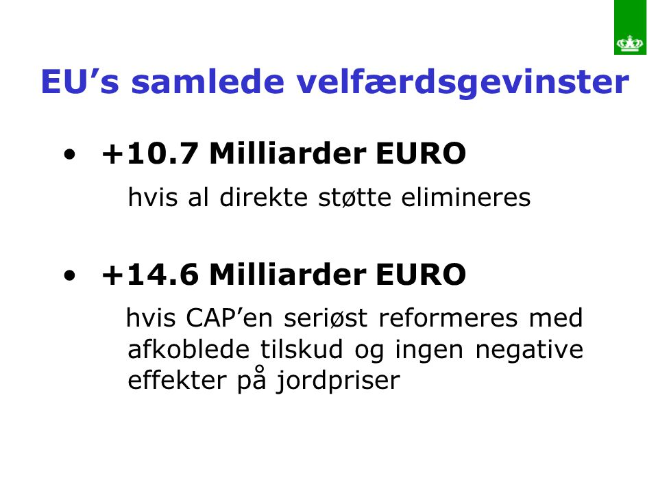 EU's samlede velfærdsgevinster
