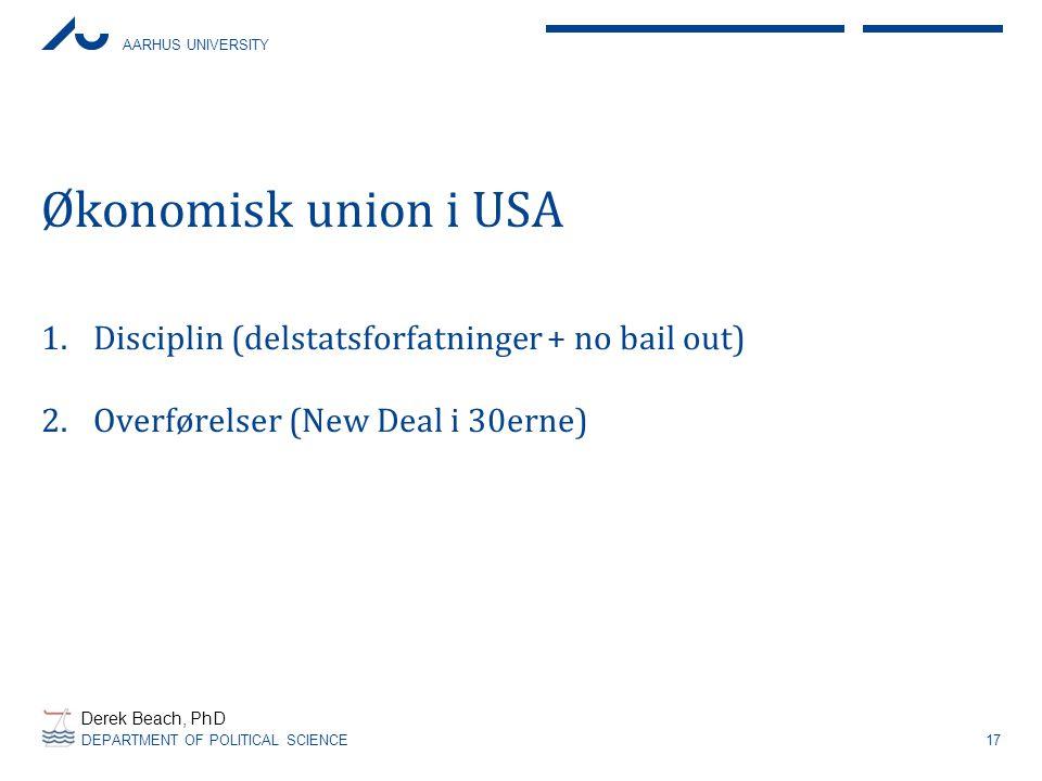 Økonomisk union i USA Disciplin (delstatsforfatninger + no bail out)
