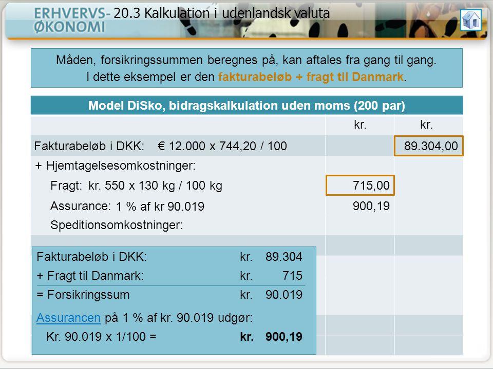 Model DiSko, bidragskalkulation uden moms (200 par)