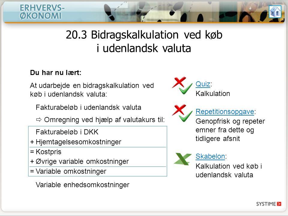 20.3 Bidragskalkulation ved køb i udenlandsk valuta