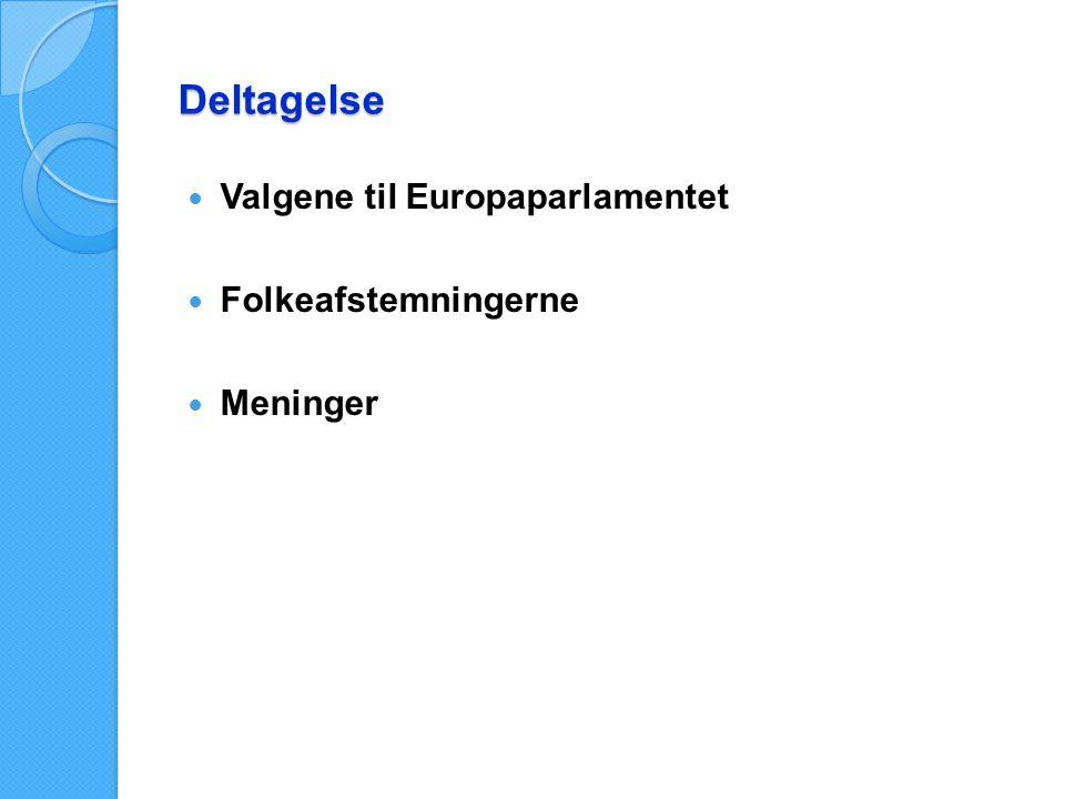 Deltagelse Valgene til Europaparlamentet Folkeafstemningerne Meninger