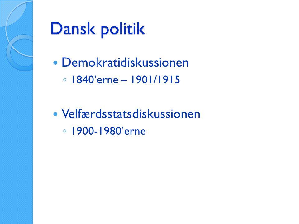 Dansk politik Demokratidiskussionen Velfærdsstatsdiskussionen