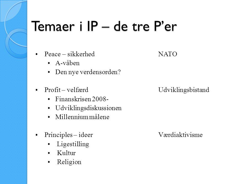 Temaer i IP – de tre P'er Peace – sikkerhed NATO A-våben