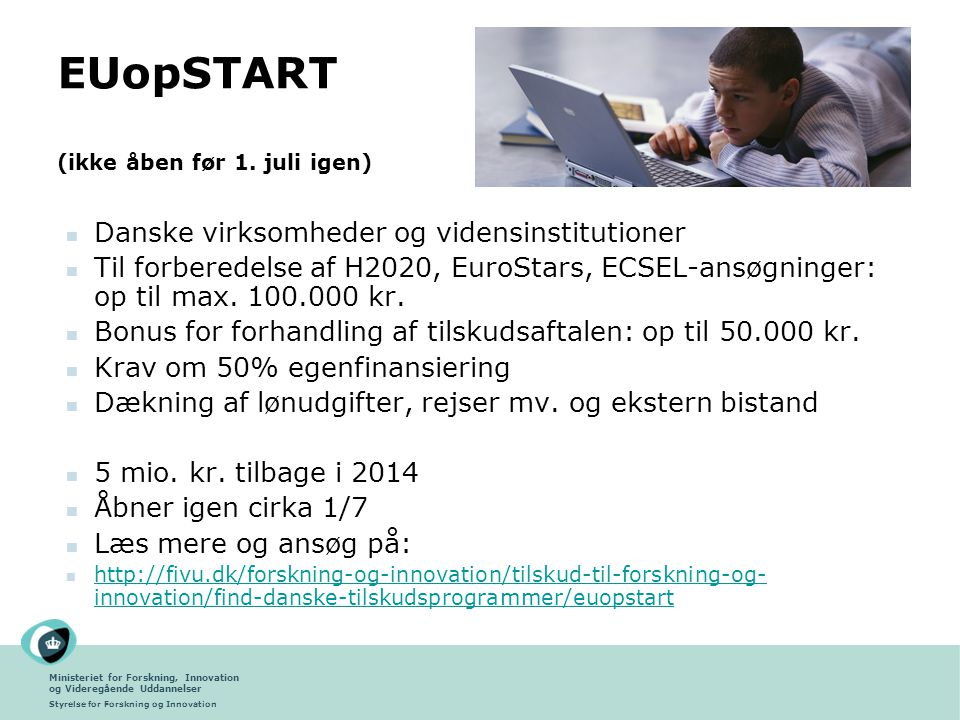 EUopSTART (ikke åben før 1. juli igen)