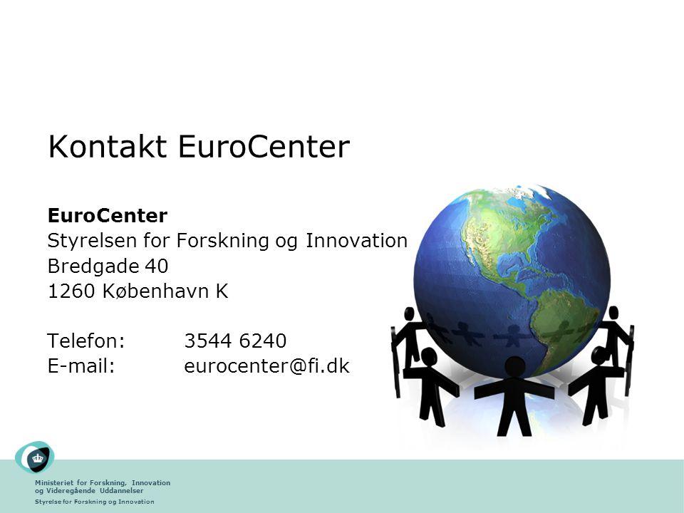 Kontakt EuroCenter EuroCenter Styrelsen for Forskning og Innovation