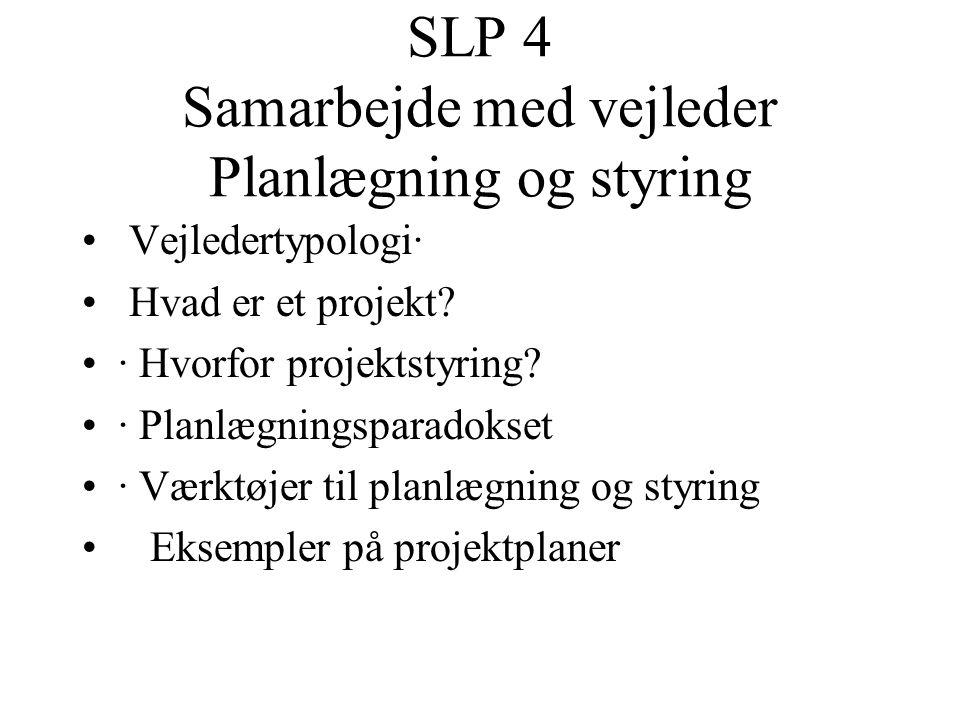 SLP 4 Samarbejde med vejleder Planlægning og styring