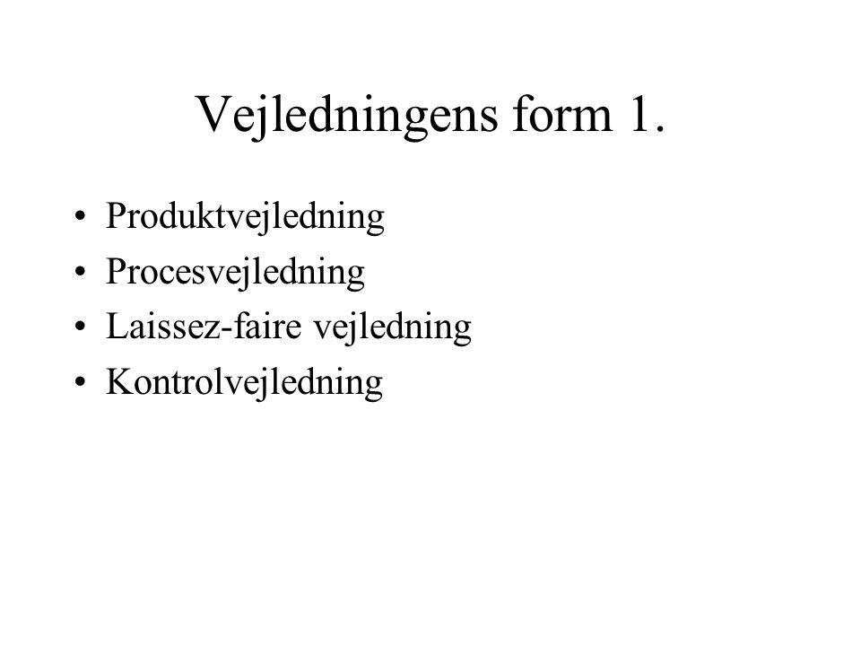 Vejledningens form 1. Produktvejledning Procesvejledning