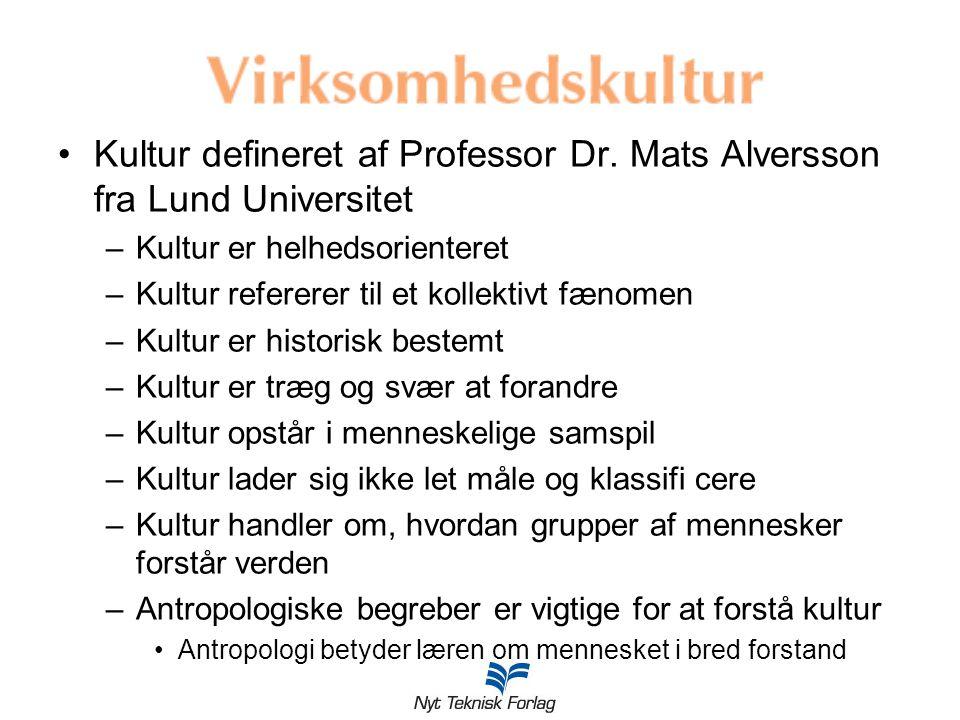 Kultur defineret af Professor Dr. Mats Alversson fra Lund Universitet