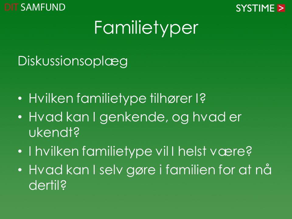 Familietyper Diskussionsoplæg Hvilken familietype tilhører I