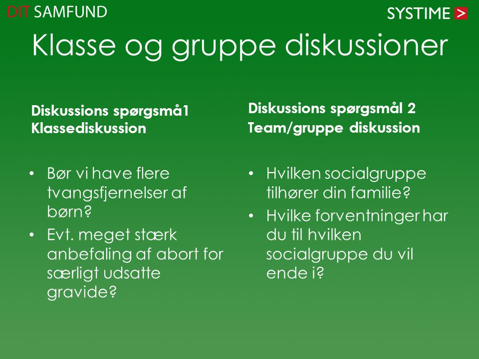 Klasse og gruppe diskussioner