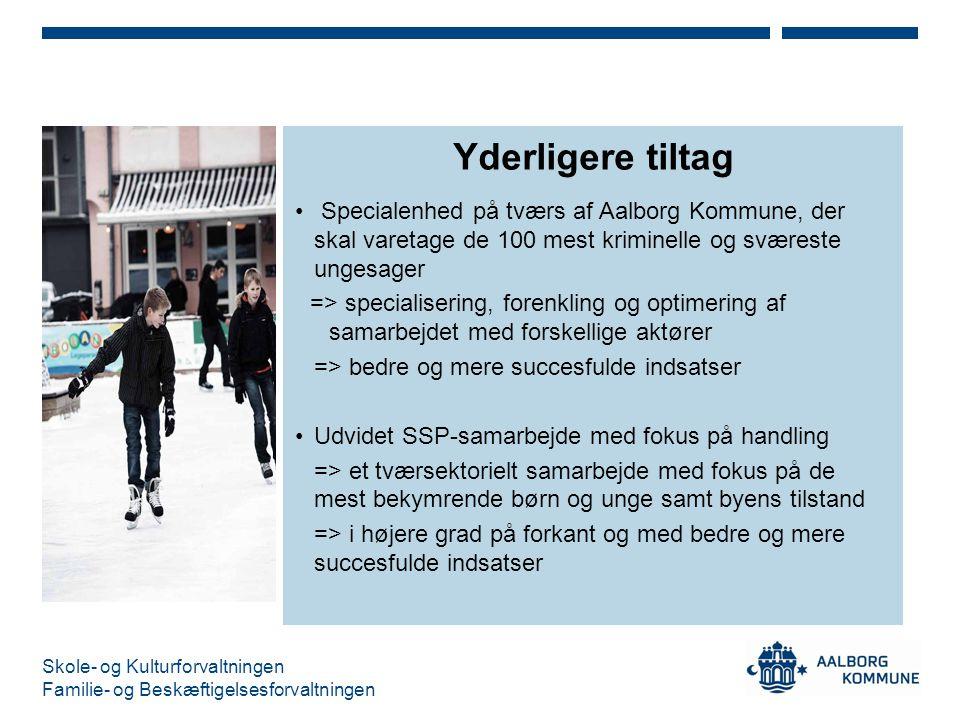 Yderligere tiltag Specialenhed på tværs af Aalborg Kommune, der skal varetage de 100 mest kriminelle og sværeste ungesager.