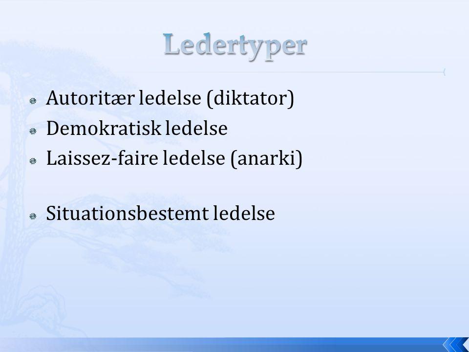 Ledertyper Autoritær ledelse (diktator) Demokratisk ledelse