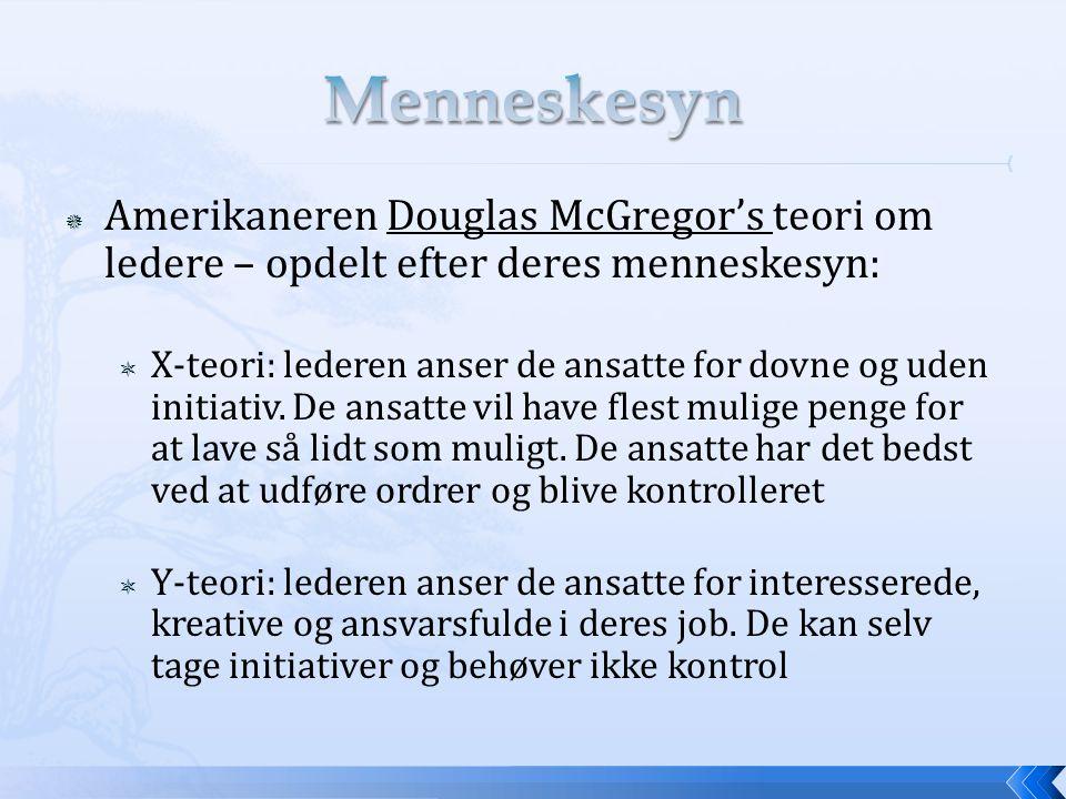 Menneskesyn Amerikaneren Douglas McGregor's teori om ledere – opdelt efter deres menneskesyn: