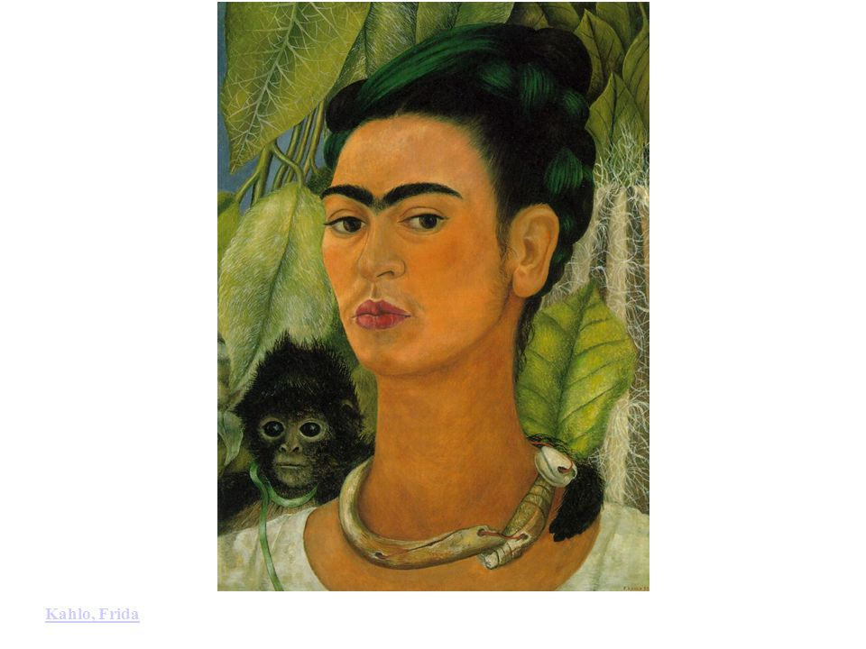 Kahlo, Frida: Self-Portrait with Monkey (1938). Oil on Masonite