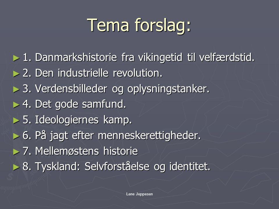 Tema forslag: 1. Danmarkshistorie fra vikingetid til velfærdstid.
