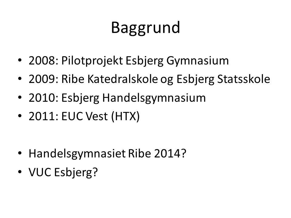 Baggrund 2008: Pilotprojekt Esbjerg Gymnasium