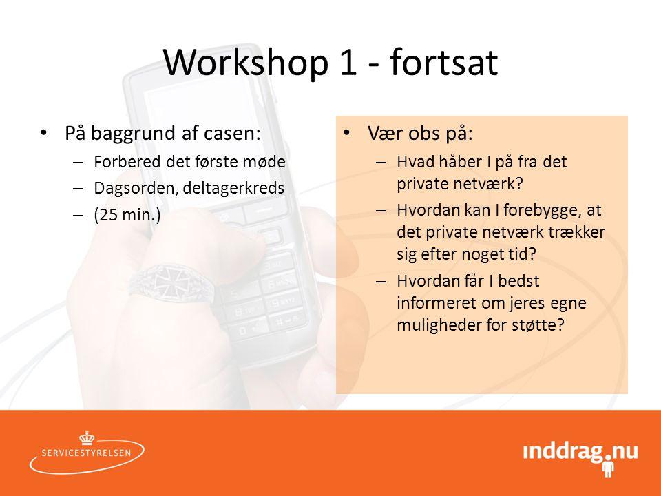 Workshop 1 - fortsat På baggrund af casen: Vær obs på: