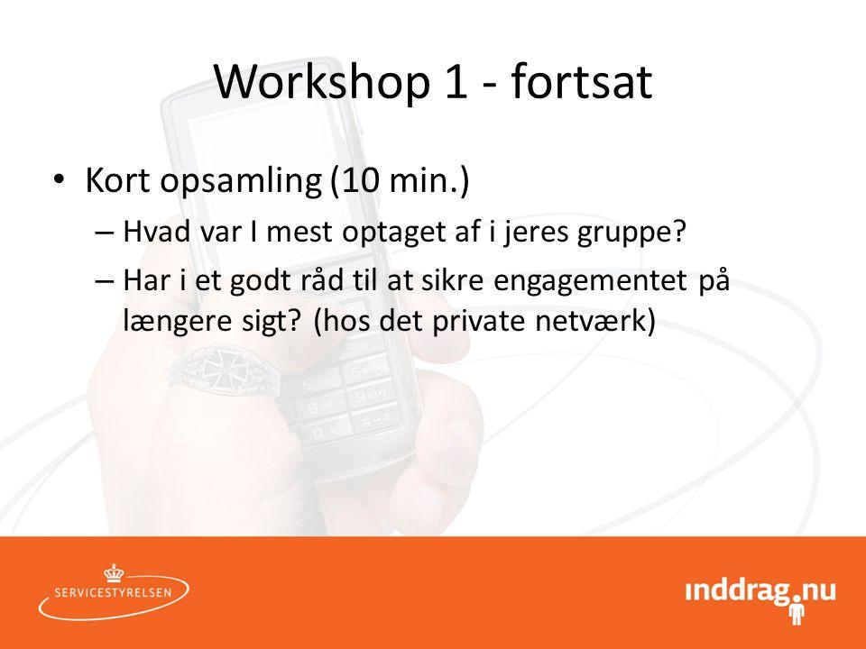 Workshop 1 - fortsat Kort opsamling (10 min.)