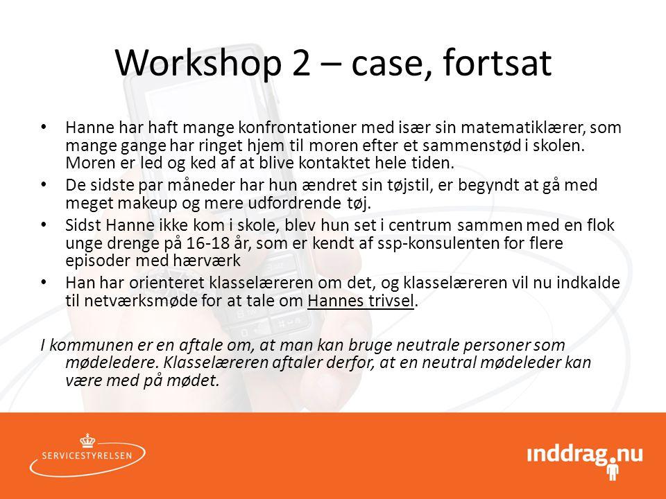 Workshop 2 – case, fortsat
