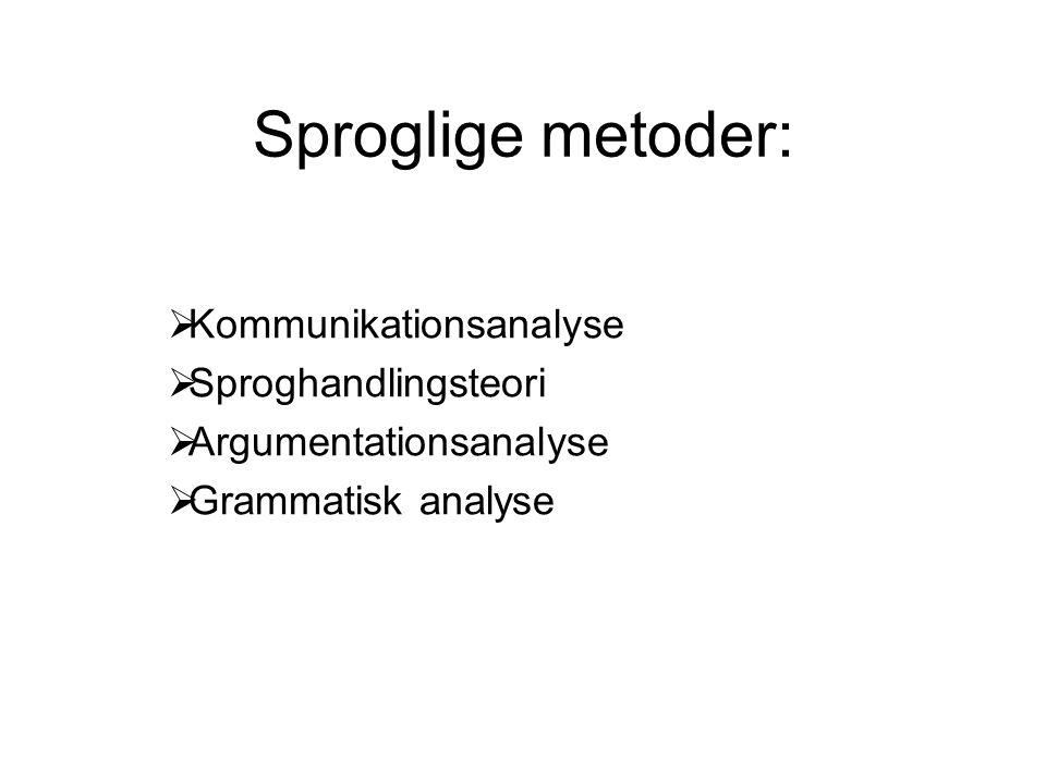 Sproglige metoder: Kommunikationsanalyse Sproghandlingsteori
