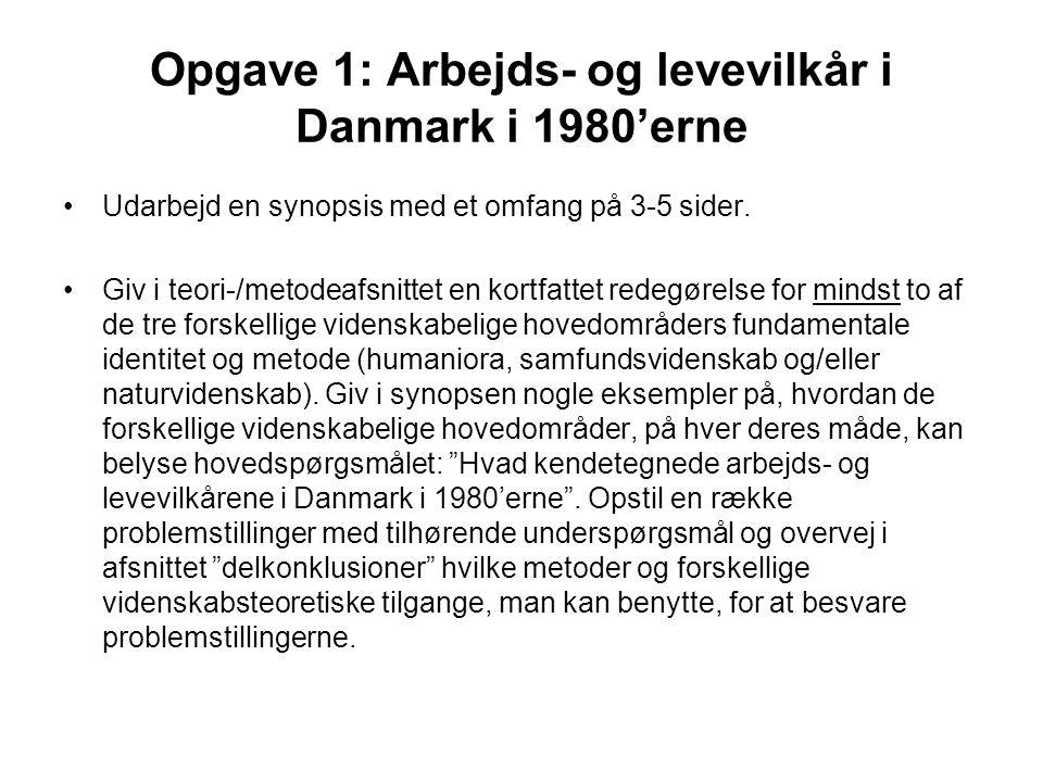 Opgave 1: Arbejds- og levevilkår i Danmark i 1980'erne