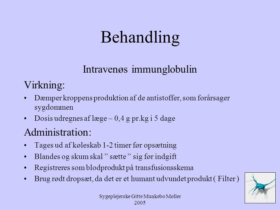 Behandling Intravenøs immunglobulin Virkning: Administration: