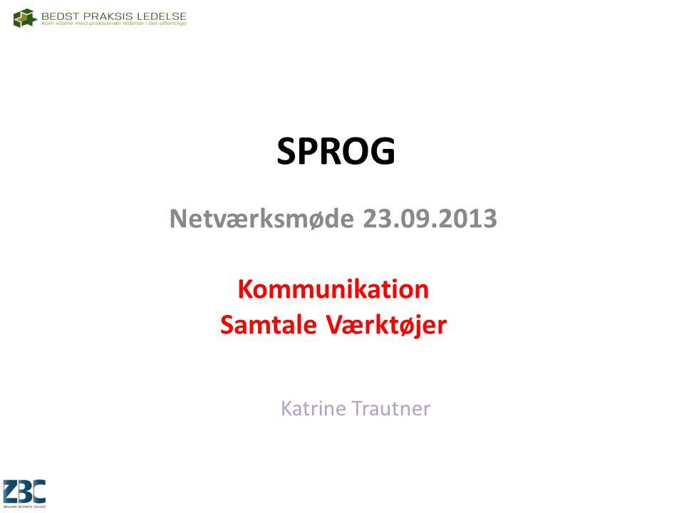Netværksmøde 23.09.2013 Kommunikation Samtale Værktøjer