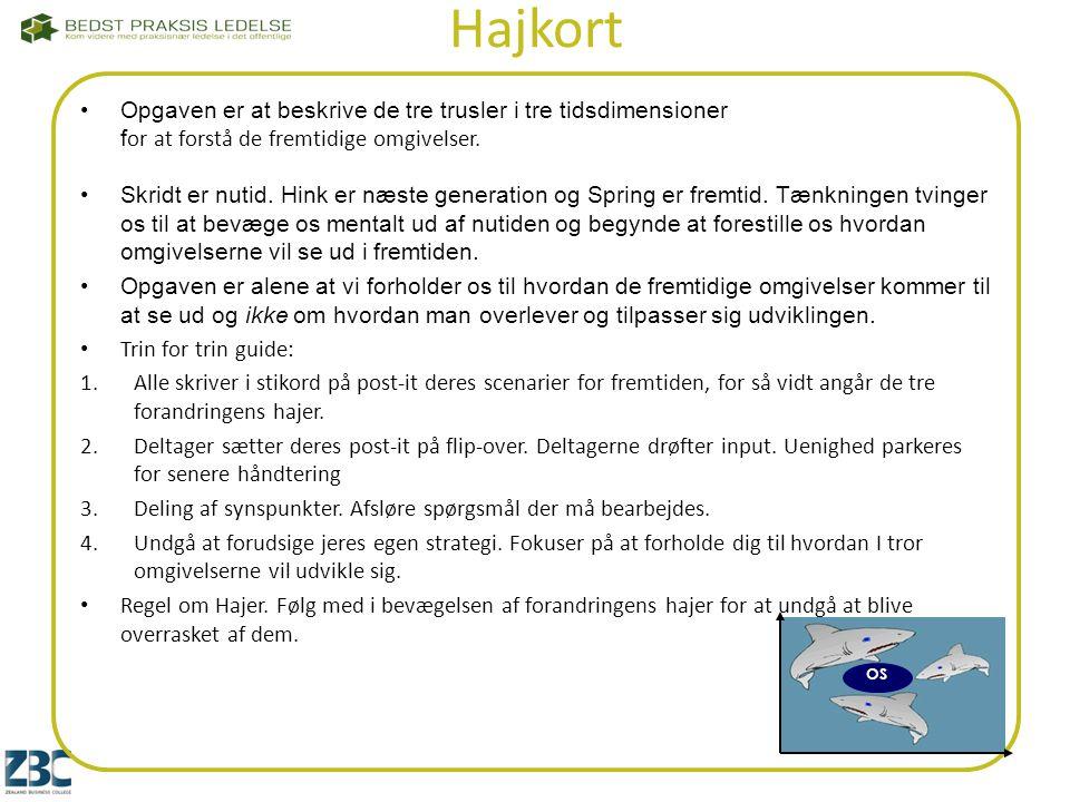 Hajkort Opgaven er at beskrive de tre trusler i tre tidsdimensioner for at forstå de fremtidige omgivelser.