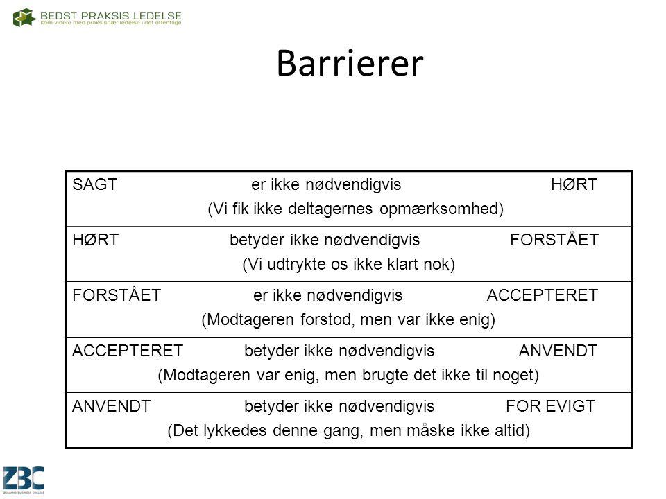 Barrierer SAGT er ikke nødvendigvis HØRT