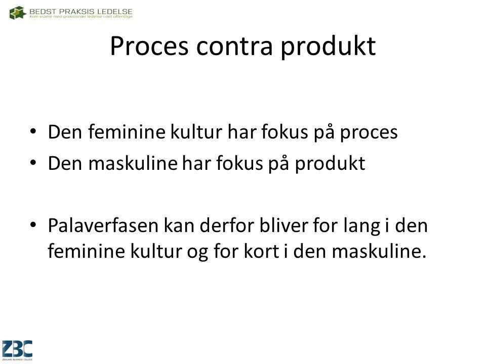 Proces contra produkt Den feminine kultur har fokus på proces