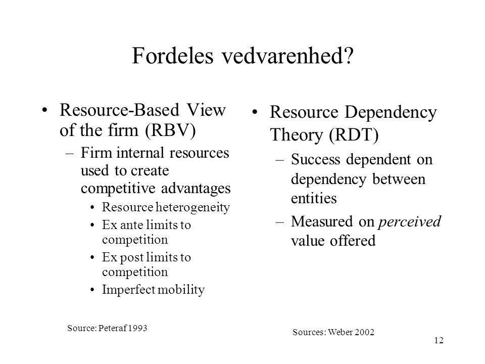 Fordeles vedvarenhed Resource-Based View of the firm (RBV)