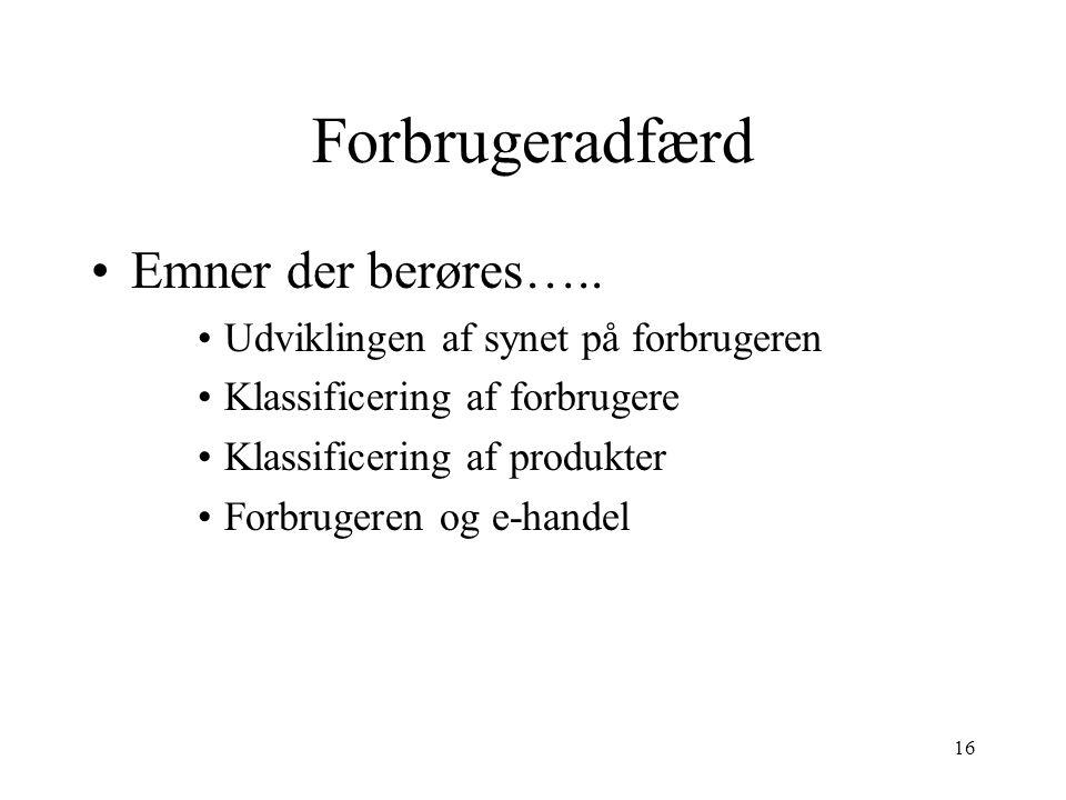 Forbrugeradfærd Emner der berøres…..