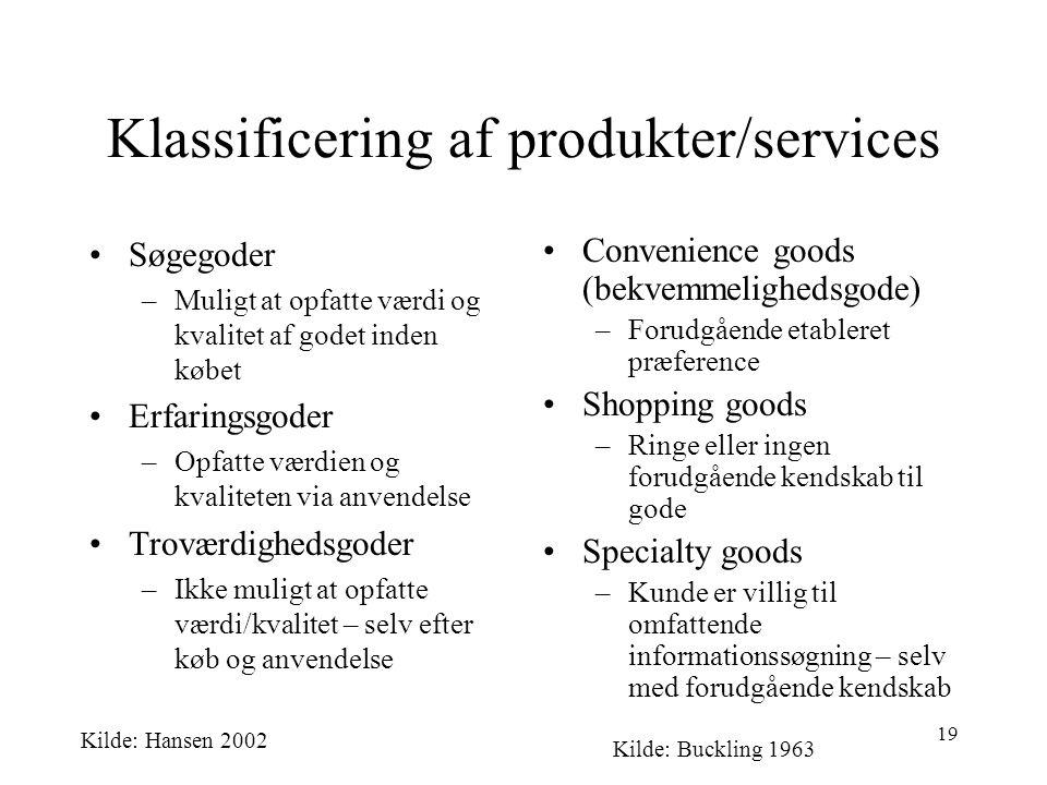 Klassificering af produkter/services